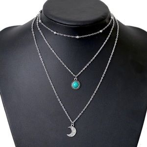 Jewelry - Multilayer Moon & Turquoise Boho Silver Necklace